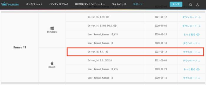 HuionKamvas13ドライバのインストール画面
