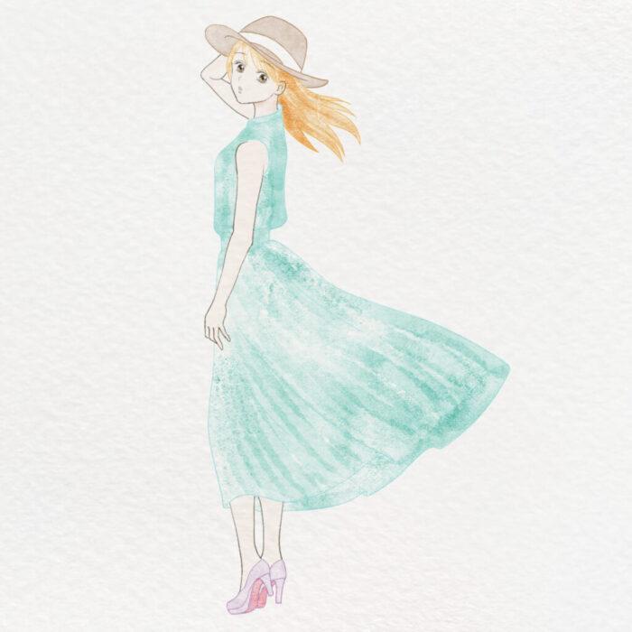 絵の練習3ヶ月目イラスト 帽子女の子
