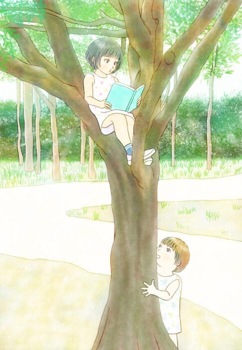 絵の練習3ヶ月目イラスト 木の上で読書