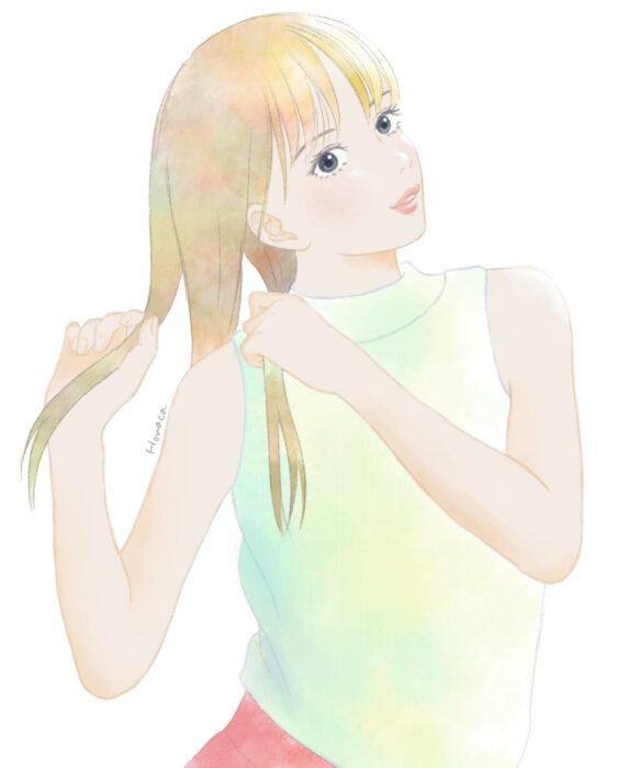 三つ編みをする女の子