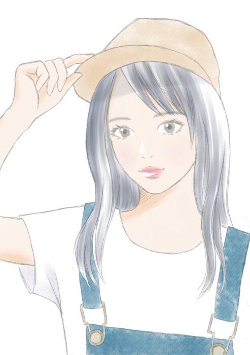 帽子を被る女の子
